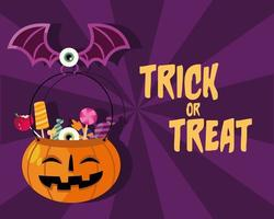Trick or treat candies in a pumpkin vector