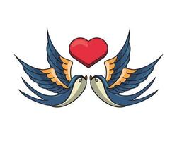beautiful birds flying with heart vector