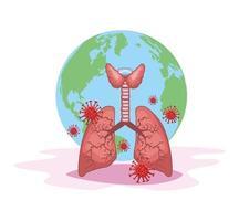 pulmones y planeta con coronavirus vector