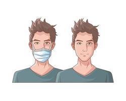 hombres jóvenes con mascarillas médicas vector
