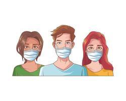 jóvenes con mascarillas médicas vector