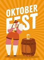 Oktoberfest hombre de dibujos animados con diseño de vector de trompeta y cerveza