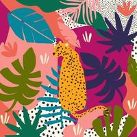 Leopard and tropical leaves poster background vector illustration. Trendy wildlife pattern