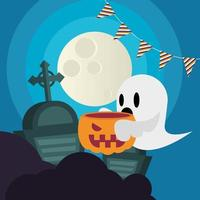 Halloween ghost cartoon with pumpkin at cemetery vector design