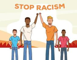 group of interracial men together, stop racism campaign