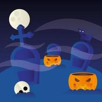 Halloween pumpkins at the cemetery vector design