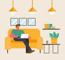 Man with laptop working from home vector design