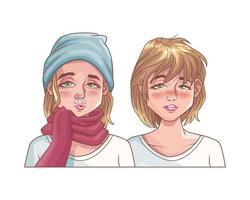 sick girls with symptoms of covid19 vector