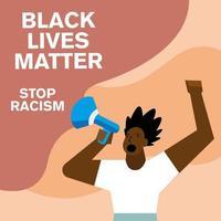 las vidas de los negros importan y detener las pancartas racistas con los puños en alto vector
