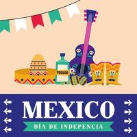Independence day of Mexico celebration with guitar vector