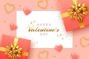 Happy Valentine's Day background with square paper banner. Realistic gift boxes with golden bow, pink 3d balloons hearts, and golden hearts with glitter texture and confetti. vector