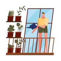 man with plants at home window vector design