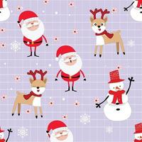 Merry Christmas and Happy New year cartoon seamless pattern