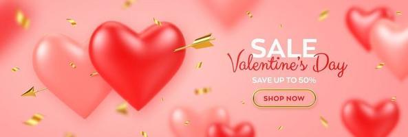 Valentines day sale banner. Couple realistic 3d red and pink heart shaped balloons pierced by cupids golden arrow and confetti. Background, flyer, poster, greeting card.