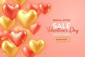 Valentines day sale banner with shining realistic red and gold 3d balloons hearts with glitter texture and confetti. Background, flyer, invitation, poster, brochure, greeting card. vector
