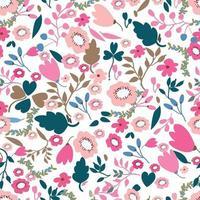 estilo tropical de patrones sin fisuras de flores rosadas y selváticas vintage vector