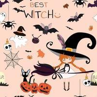 linda bruja dulce de dibujos animados de halloween vector