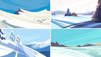 Collection of winter landscapes vector