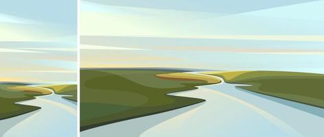 río atravesando el horizonte vector