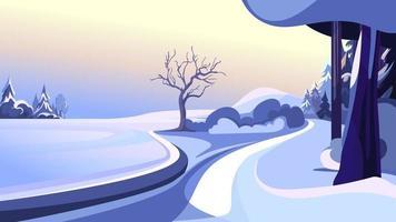 Winter public park landscape vector