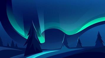 Beautiful northern lights landscape vector