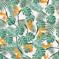 Greenery leaves and bird of paradise seamless pattern vector