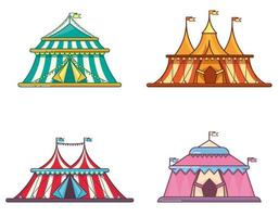Circus tents in linear flat style set vector