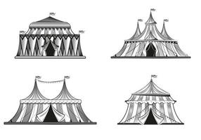 Circus tents in engraving style set vector