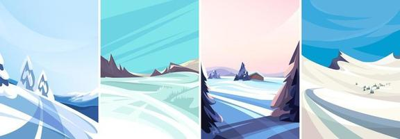 Winter landscapes in vertical orientation set vector
