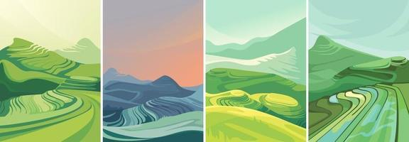 Set of rice terraces in vertical orientation vector