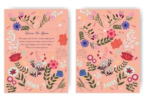 Cute sweet red pink and blue wild floral flower frame for wedding card vector