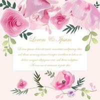 Wedding card pink rose flower vector