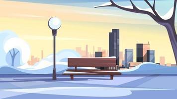 Winter city park landscape vector