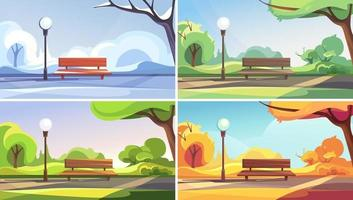 Park in different times of year set vector