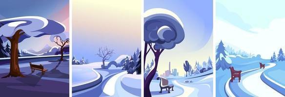 colección de parques de invierno vector