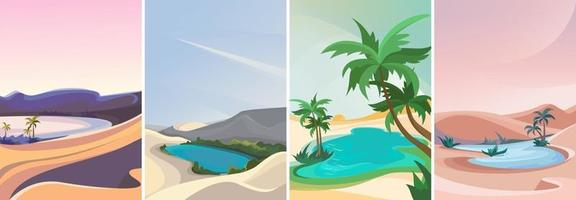 Collection of oasis landscapes vector