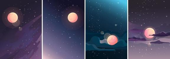 Collection of starry landscapes vector