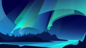 Illustration of aurora borealis landscape vector