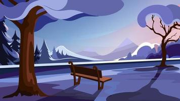 Winter park on background of forest and mountains vector