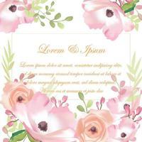 Wedding sweet pink flower card vector