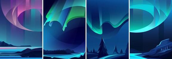 Illustrations of northern lights set vector