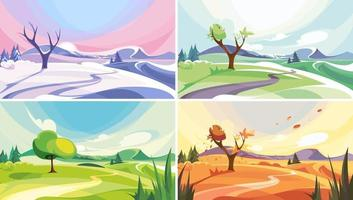 Natural landscape at different times of year set vector