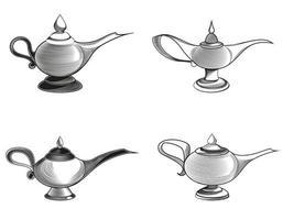 conjunto de diferentes lámparas mágicas. vector