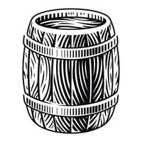 Black and white vector illustration of a wooden barrel in engraving style on a white background.
