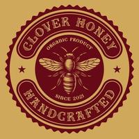 Vintage round honey label vector