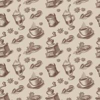Retro seamless background for a coffee theme in engraving style. vector