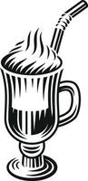 Black and white vector illustration of a latte on white background.