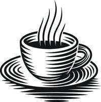 A black and white vector illustration of a cup of coffee isolated on white background