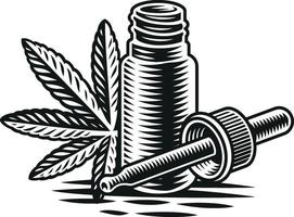 Cannabis oil vector illustration in engraving style on white background