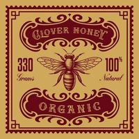 Vintage honey label, this design can be used as a template for a package. vector